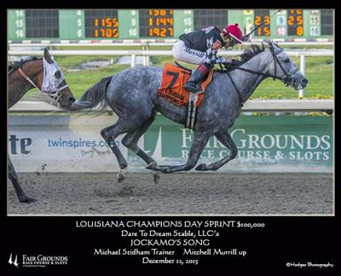 Jockamo's Song wins Louisiana Champion's Day Sprint at Fair Grounds on December 12, 2015