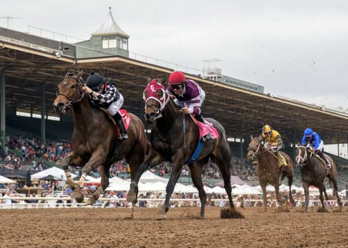 Spiced Perfection wins the $200K Evening Jewel Stakes at Santa Anita Park on April 7, 2018